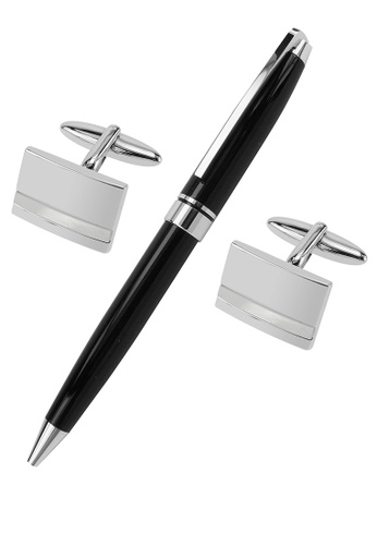 CUFF IT white Mother of Pearl Striped Cufflinks and Pen Set A7180AC6BCABD7GS_1