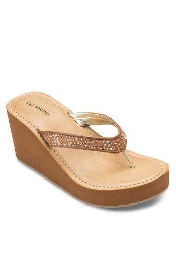 Dworema 夾腳楔型涼鞋esprit tote bag, 女鞋, 鞋