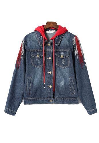 Its Me red and navy Shaped Color Flash Hooded Denim Jacket A949DAAC45A6E4GS_1