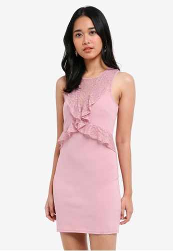 Miss Selfridge pink Blush Lace Ruffle Bodycon Dress 79A96AAF57D83DGS_1