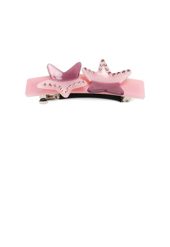 Glamorousky pink and purple Fashion Creative Pink Purple Star Hair Slide with Cubic Zirconia D8E9BACB17148EGS_1