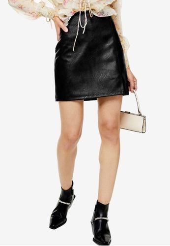 TOPSHOP black PETITE Black Leather Look Mini Skirt 5C085AAF3F87B8GS_1
