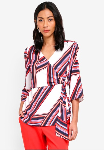 cf83db8a1ab1b Buy Dorothy Perkins Ivory Stripe Wrap Top Online on ZALORA Singapore