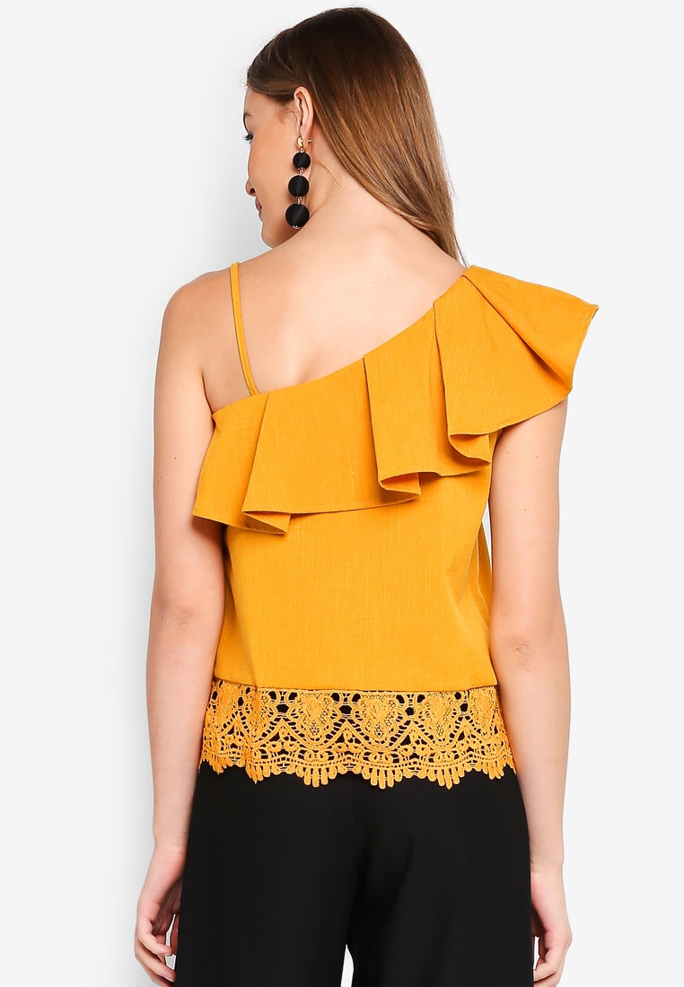 One Mustard Lace Shoulder Angeleye Top 1dZCaa