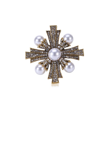 Glamorousky white Fashion Vintage Plated Gold Cross Imitation Pearl Brooch with Cubic Zirconia B7859ACBCD6F9BGS_1
