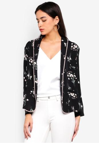 Liquorish black Floral Print Jacket 8A60CAA5BA3AC2GS_1