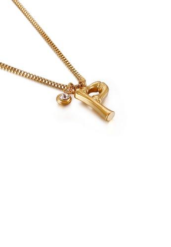 Glamorousky 白色 時尚簡約鍍金色英文字母P 316L鋼吊墜配鋯石及項鏈 422EFACFDFA2D0GS_1