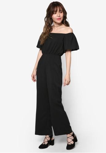 露肩zalora時尚購物網的koumi koumi寬管連身褲, 服飾, 迷你裙
