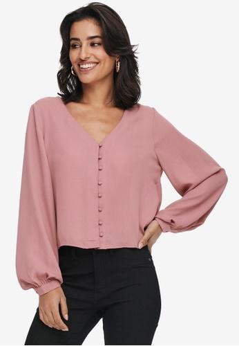 JACQUELINE DE YONG pink Hermine Long Sleeves Short Button Shirt 15311AAFDB5169GS_1