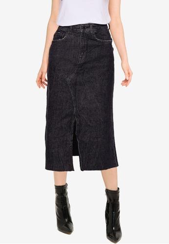 Guess black Noelia Longuette Skirt 0E212AA0950D71GS_1