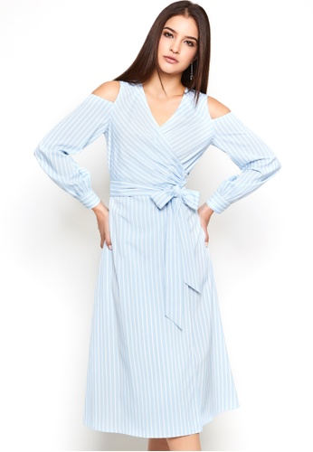 Nichii blue Striped Cold Shoulder Wrap Dress 6BB54AA47CD4F7GS_1