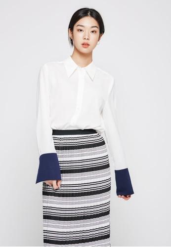色塊袖口長袖襯衫, esprit香港分店服飾, 上衣