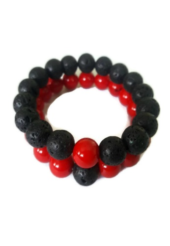 Be Lucky Charms black and red Feng Shui Couple Relationship Bracelets His and Her Lava Stone Bracelets BE436AC35UBGPH_1