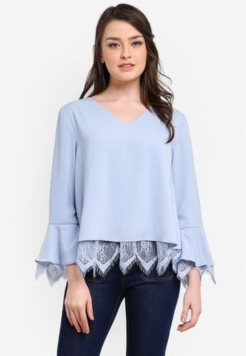 Zalia blue Lace Layer Loose Blouse B0F85AA85D7FE7GS_1