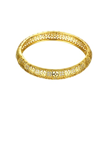 Glamorousky white Fashion Elegant Plated Gold Hollow Pattern Cubic Zircon Bangle D8C28ACD31311DGS_1