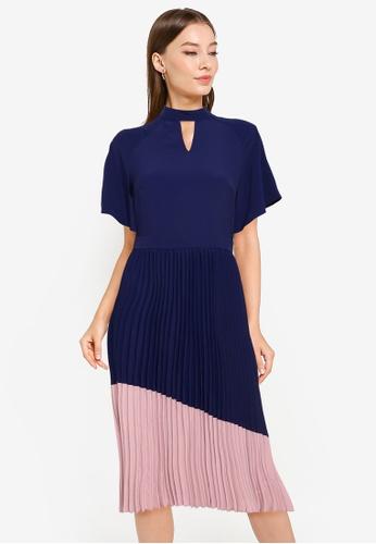 ZALORA WORK multi Flutter Sleeve Colourblock Dress 06E46AAFA512E5GS_1