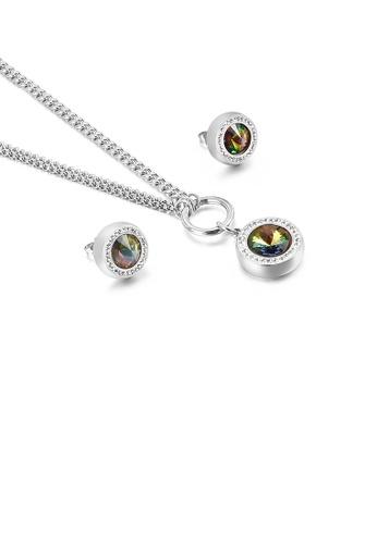 Glamorousky 多色 時尚簡約幾何圓形彩色鋯石316L鋼項鏈和耳釘套裝 9A0F7AC2735FF9GS_1