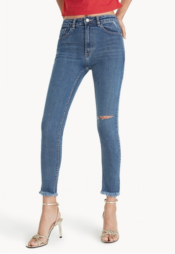 Pomelo blue One Side Ripped Knee Jeans 7AB99AAE8C8A40GS_1