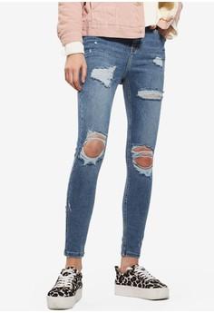 TOPSHOP  MOTO Blue Super Rip Jamie Jeans