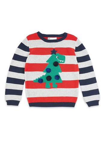 MARKS & SPENCER red and grey and navy Dinosaur Christmas Tree Striped Jumper EF2BBKA01934BAGS_1
