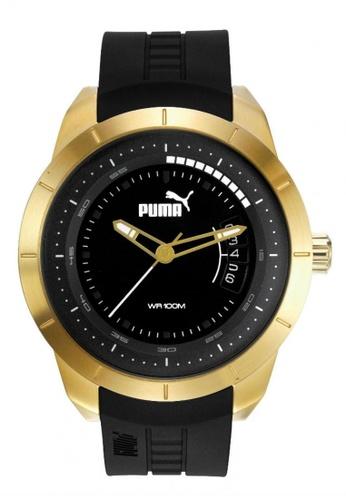 Puma black PU104191001  Gold Black PU Strap Men Watch PU549AC0RKKTMY_1