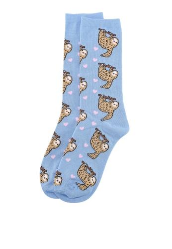 Typo blue Womens Novelty Socks 95510AAE2663E4GS_1