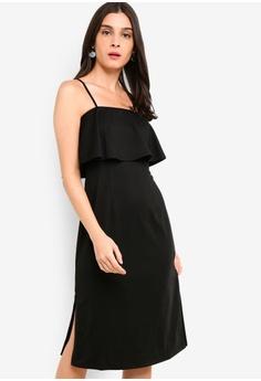 ZALORA black Tiered Strappy Midi Sheath Dress E18AFAAFD7BC68GS 1 a171b741d
