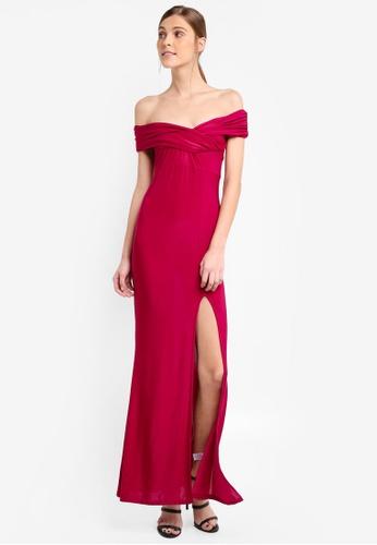 MISSGUIDED purple Slinky Bardot Wrap Front Split Maxi Dress A41B1AA88C2D20GS_1