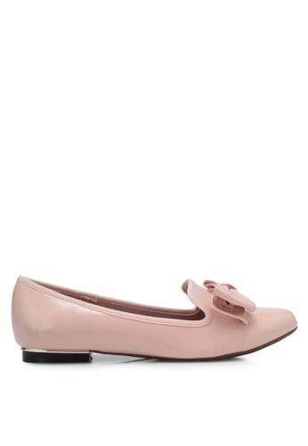 Velvet pink Patent Bow Loafer Flats 34179SH6513B40GS_1