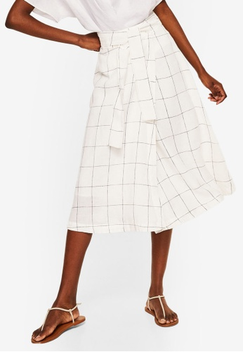 Mango white Bow Linen Skirt 6698AAA40BD3CDGS_1