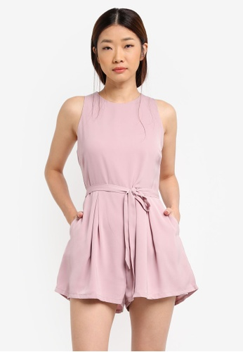Something Borrowed pink Pleated Cut-In Romper 5FC62AA879295CGS_1