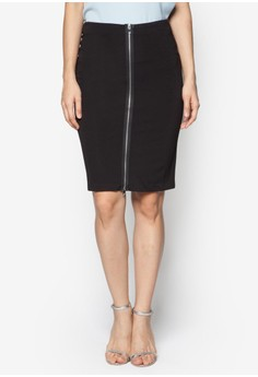 Collection Zip Through Midi Skirt