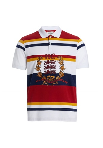 Kent and Curwen red Striped Polo Shirt with Crest Embrodiery D282AAAF1AF4C4GS_1