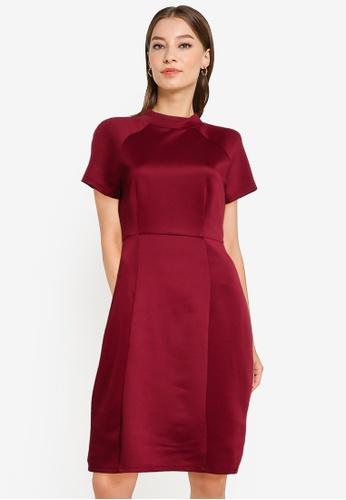 ZALORA WORK red Mock Neck Midi Dress With Cap Sleeve 38375AAE656842GS_1