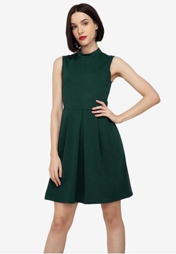 ZALORA WORK green Mock Neck Sleeveless Dress 3FA54AA65BFA4EGS_1