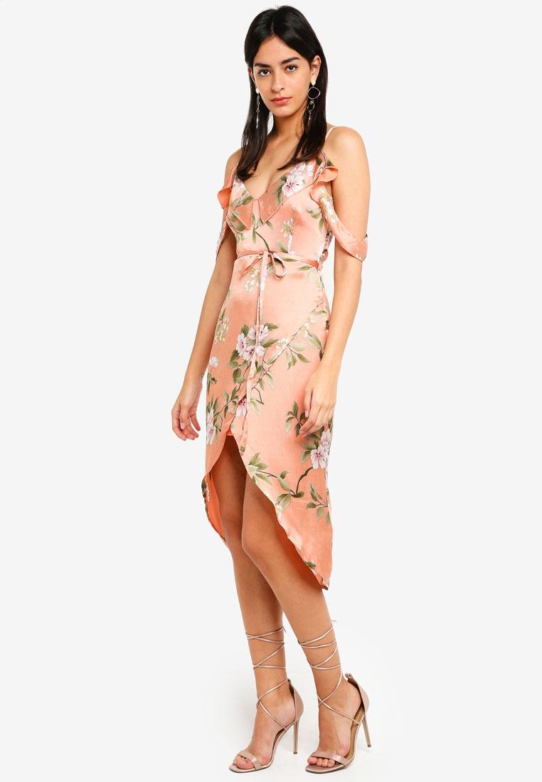 MISSGUIDED Dress Frill Floral Satin Peach Midi HOqFF7