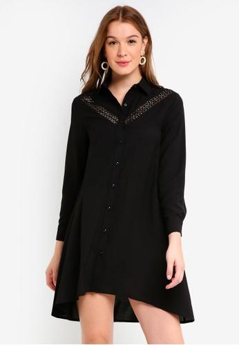 ZALORA black Shirt Dress with Lace Insert 12BA5AA8A6AD6AGS_1