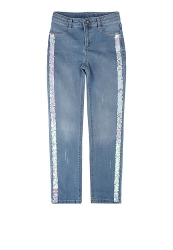 LC Waikiki blue Girl's Spangled Slim Jeans 6512DKA9EE6F5CGS_1