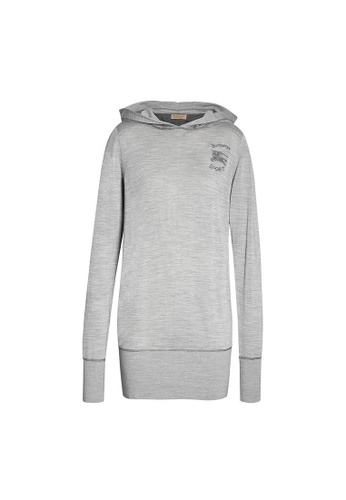 Burberry grey Burberry Melange silk and cashmere Hoodie Dress in Charcoal 38123AA04D9D3BGS_1