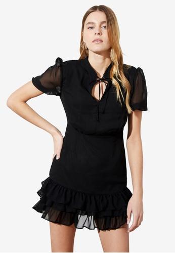 Trendyol black Tie Front Dress CA98CAAF390C61GS_1