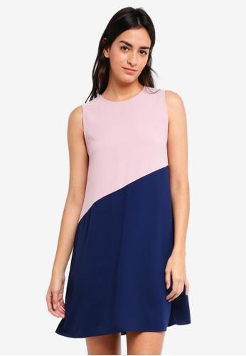 ZALORA multi Colorblock Flare Dress DB18EAAC660CE0GS_1