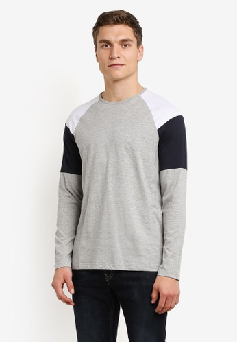 Burton Menswear London grey Grey White And Navy Block Raglan T-Shirt BU964AA0RWMNMY_1