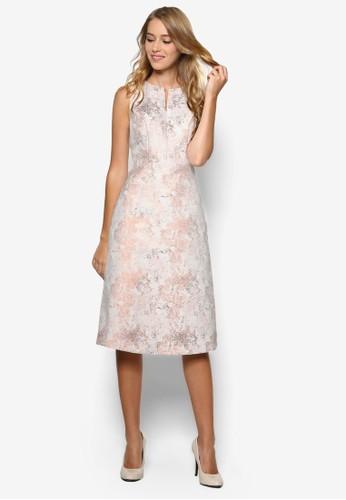 玫esprit 香港瑰金提花無袖小禮服, 服飾, 服飾