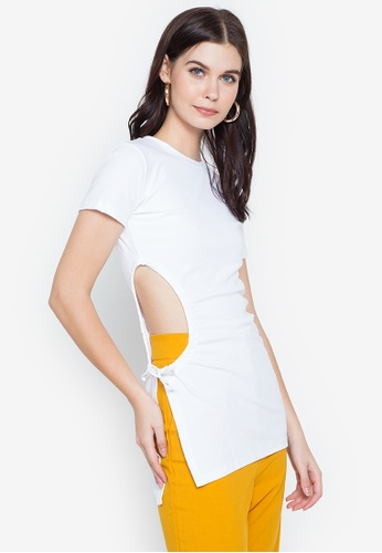 Spring Fling white Ruched Side Long Top D87D3AA6599E6EGS_1