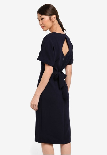 WAREHOUSE navy Crepe Belted Wiggle Dress 798B7AA391CDC4GS_1