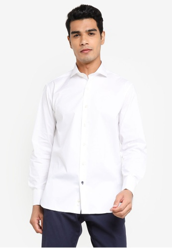 Sacoor Brothers white Slim fit super comfort easy iron shirt D7294AA4EAA829GS_1