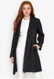 Well Suited black Speckled Wool Trench 8EB5AAA2E6F96AGS_1