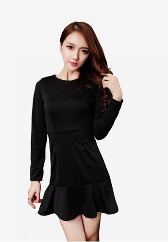 Lara black Long Sleeves Round Neckline Slim fit One piece Dress DDC31AA049D02BGS_1