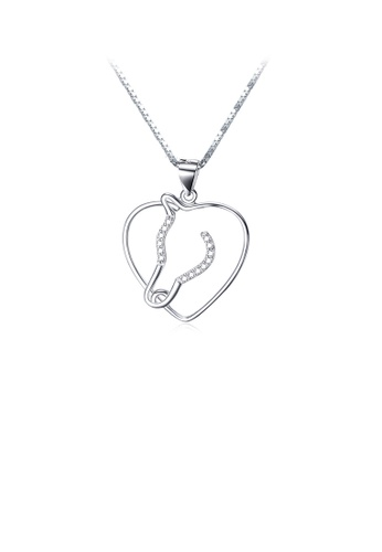 Glamorousky white 925 Sterling Silver Simple Fashion Horse Head Heart Pendant with Cubic Zirconia and Necklace B79B7AC54FDAEDGS_1