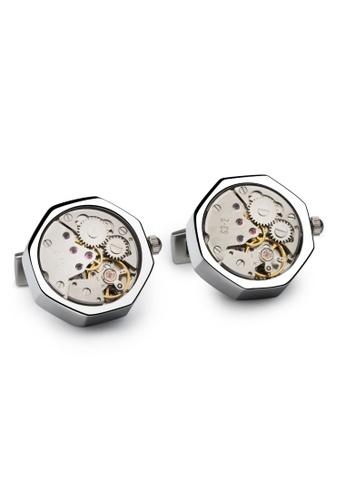 Crudo Leather Craft silver Ritmo di vita Mechanical Watch Cufflinks - Moon Silver 311D8AC8A1F0B9GS_1